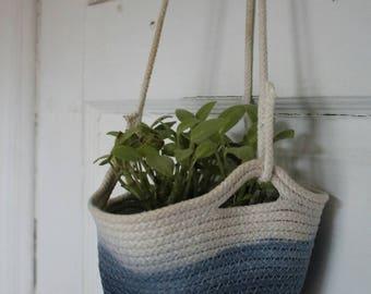 Indigo dip dyed hanging plant pot