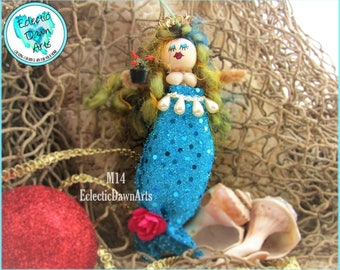 Mermaid Ornament with Crown and Flowers, MO14