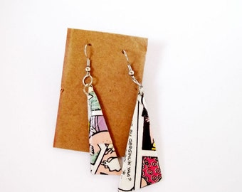 Paper earrings, quirky jewelry, triangle earrings, paper gift for her, eco jewelry, funky jewelry, newspaper jewelry, upcycled earrings