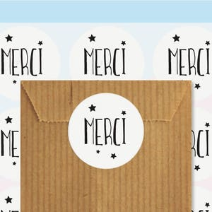 Merci gift label, Seal stickers, Round gift stickers, Packaging Stickers, Gift packaging
