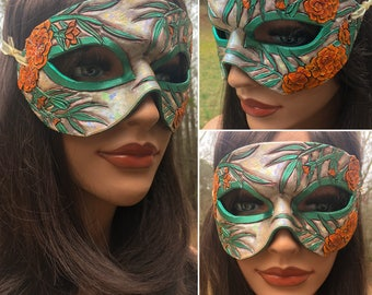 Lady of October Opal and Marigold Mask - Limited Edition 1 of 10 Birthstone Birth Flower Art Nouveau Mardi Gras Masquerade MADE TO ORDER