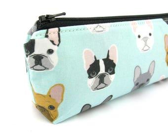 French Bulldog on Mint Pencil Case - Pencil Pouch - Zip Pouch - Small Bag - Zipper Pouch - Planner Pencil Case Organiser
