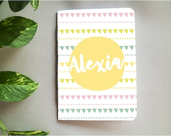 Personalised Children's Notebook // Patterned Colourful Kid's Notebook with Custom Name // Gifts for Kids // Christmas Stocking Filler