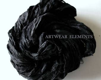 Pure Sari Silk, Art Deco Black, 6 Yards, Recycled Sari Silk, Fair Trade, Textile, Art Yarn, Black Ribbon, Ribbon, Artwear Elements, #61