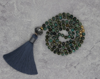 Labradorite beads Necklace African Turquoise necklace Gemstone bead necklace Boho tassel necklace long bead necklace boho necklace NL-082