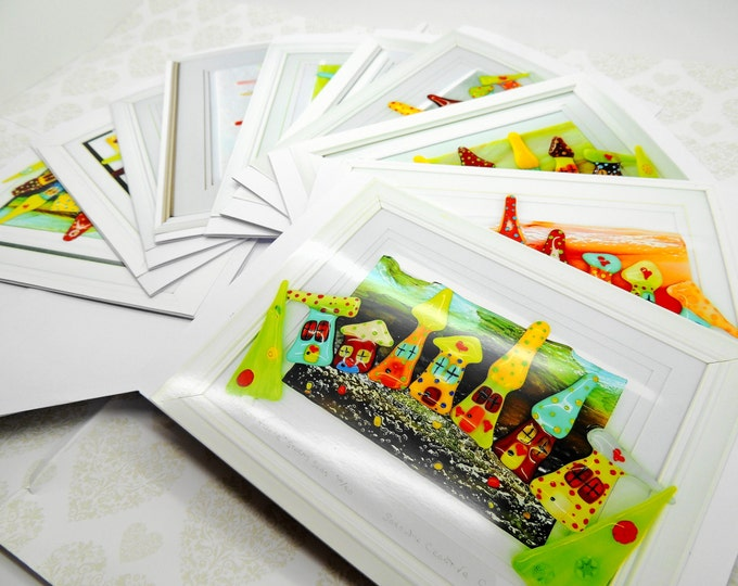Pack of Serdinya Higgledy Village frameable greetings cards. Original artwork. Gift idea for her him. Handmade small gifts. Fused glass art.