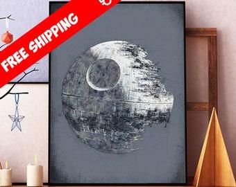 Star Wars Poster, Death Star Art, Star Wars Death Star Print, Star Wars Art, Star Wars Giclee, Kids Room Decor, Free Shipping