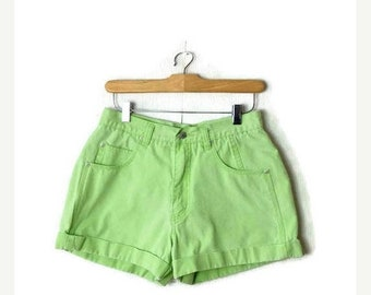 ON SALE Vintage Lime Green High Waist Denim Shorts/W26*