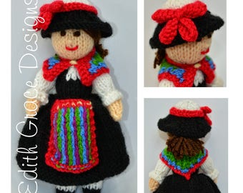 Swiss Doll, Toy Knitting Pattern, Folk Doll, Folk Art, Folk Costume, Rag Doll Pattern, Doll Knitting Pattern, Knit Doll, Switzerland
