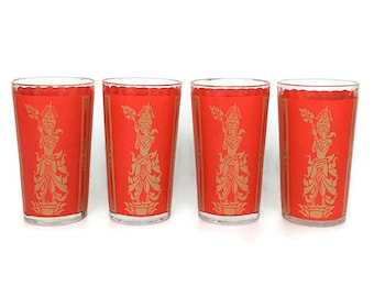 Vintage Set of 4 Red Thai  Bar Glasses