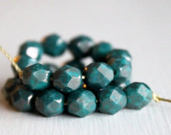 25 Opaque Teal Bronze Picasso Faceted 6mm Czech Glass Rounds