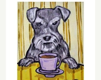 25% off Schnauzer at the Coffee Shop Cafe Dog Art Print