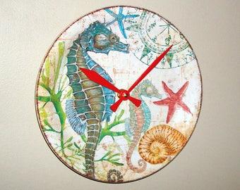 Seahorse Wall Clock, 9 Inches, Beach House Decor, Unique Wall Clock, Beach Wall Decor, Sea Life Decor, Starfish Clock - 2457