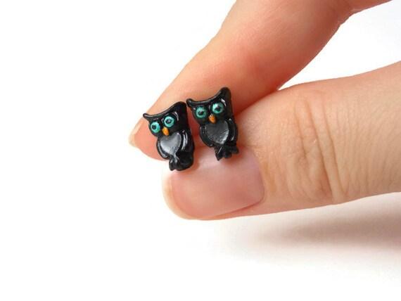 Owl Earrings - Black Owl Stud Earrings - Owl Earrings Studs - Black Earrings - Black Stud Earrings - Halloween Earrings - Hypoallergenic