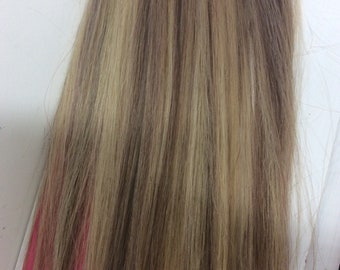 "Light brown/bleach blonde (8/613)  100% human hair clip in extensions   14""  18""  20"""