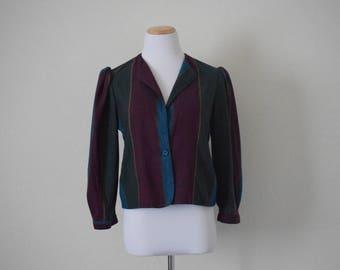 Vintage women's striped light jacket/ retro/ bohemian/ size S