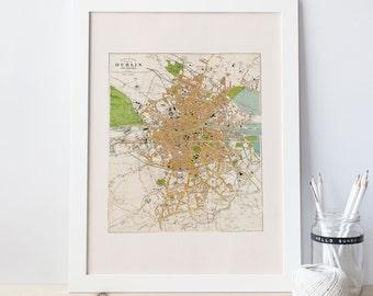 VINTAGE DUBLIN MAP - Antique Map of Ireland, Professional Reproduction, Kingdom of Ireland