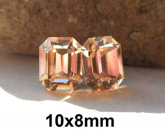 Light Peach Studs, Octagon Rhinestone Stud Earrings, Swarovski, 10x8mm Octagon Studs, Peach Crystal Studs