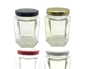 1 Pc 9 oz (270 ml) Glass Hexagon Jar with your color Choice of Plastisol Lined BPA Free Lid: Gold, White, Black , Red