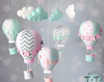 Personalized Hot Air Balloon Baby Mobile, Pastel mint pink grey Baby Mobile, Nursery Decor, Balloon Nursery, Baby Shower Gift