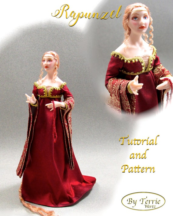 Dollhouse Doll RAPUNZEL Doll Pattern & Tutorial Instructions PDF Miniature 1:12 Scale Instant Download DIY Medieval Princess (Intermediate)