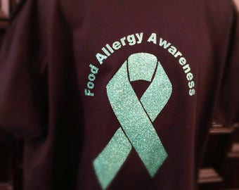 Food allergy awareness t shirt glitter awareness ribbon