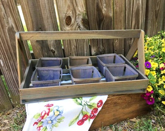 "Wooden Flat Berry Basket Farmer""s Berry Picking Tote Farmhouse Farmer's Market Vintage Produce Quart Baskets Caddy Photo Prop"