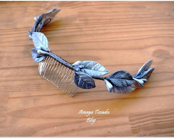 Silver porcelain comb/Wedding headpiece
