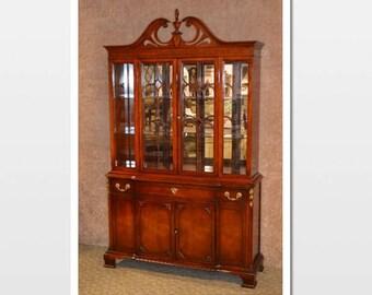 Vintage Regency Style Mahogany China Cabinet