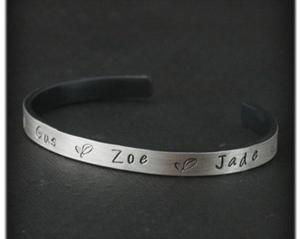 Mother's Cuff Bracelet~Sterling Silver Cuff~Custom Mother's Bracelet~Name Cuff~Stamped Names~Children's Names~Mother's Gift~4-5 Custom Names