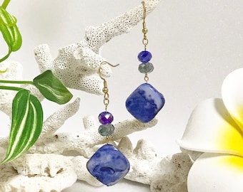 Ocean Earrings, Beach Earrings, Beads, Mother-of-Pearl, Seashell, Blue