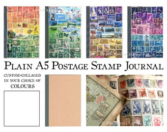 Plain Page Travel Journal | A5 Recycled Art Kraft Notebook, Doodle Book | Custom Upcycled Postage Stamp Mail Art | Boho Penpal Travel Gift