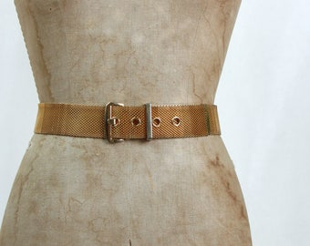 "Vintage 1980s Gold Mesh Belt | Waist 26-29"" | Metal | Gold Tone | Medium | Adjustable | Fashion Glam"