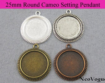 50 - 25mm Round Cameo Setting Pendant, 25mm Round Glass Tray Pendant, 25mm Blank Bezel Settings