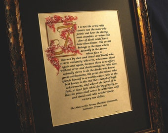 Matted Print of Original/The Man in the Arena/Theodore Roosevelt, Red, calligraphy, Print of original hand done lettering/Paper and Mat Only