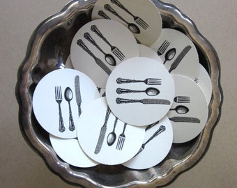Cutlery Knife Spoon Fork Silverware Tags Round Paper Gift Tags Set of 10
