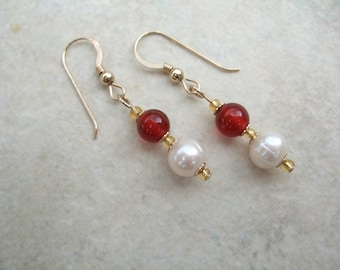 Beautiful 14ct Gold Filled Freshwater Pearl & Red Agate Drop Earrings, Jewellery, Jewelry, Gemstone, UK Seller