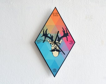Hipster Deer - Hipster Triangle Pattern - Wall Clock