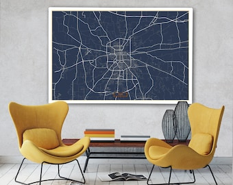 "TYLER Canvas Map Large 60""x40"" Stretched Canvas Map Tyler Texas City Map Print Tyler Texas poster map art Jack Travel"