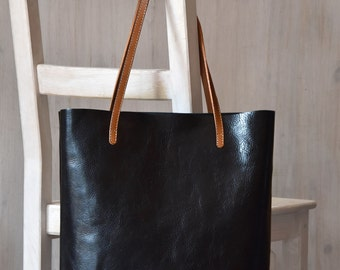 Black Leather Tote Bag – MINIMAL CHIC in Black - Medium Size Handmade Leather Tote - Black Leather Bag