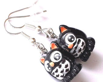 Owl Black-1 pair of earrings-Carnival children's gift jewelry fashion Jewelry