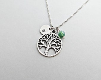 Round Tree Initial Necklace Personalized Hand Stamped - with Silver Tree Charm and Custom Bead