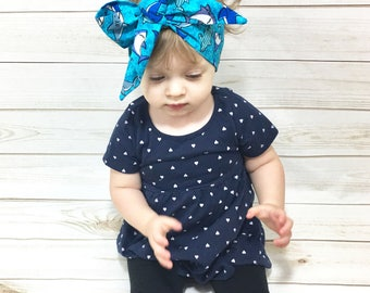 Sharks Headwrap- Headwrap; Sharks Head Wrap; Big Bow; Baby Head Wraps; Mommy and Me Headwrap; Baby Headband; Baby Headwrap Turban Head Wrap