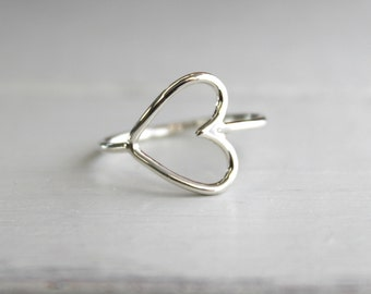 Sideways Love Ring// Argentium Sterling Silver//Handcrafted//Made to Order