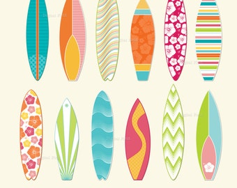 Surfboard clip art set  - printable summer digital clipart  - instant download