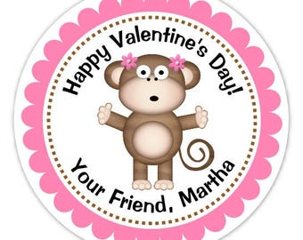 Monkey Valentine's Day Stickers, Customized, 2.5 inch round