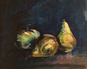FINE ART PRINT of Still Life fruit - 'Apples & Pears' painting By Laura Andrew - Size A2