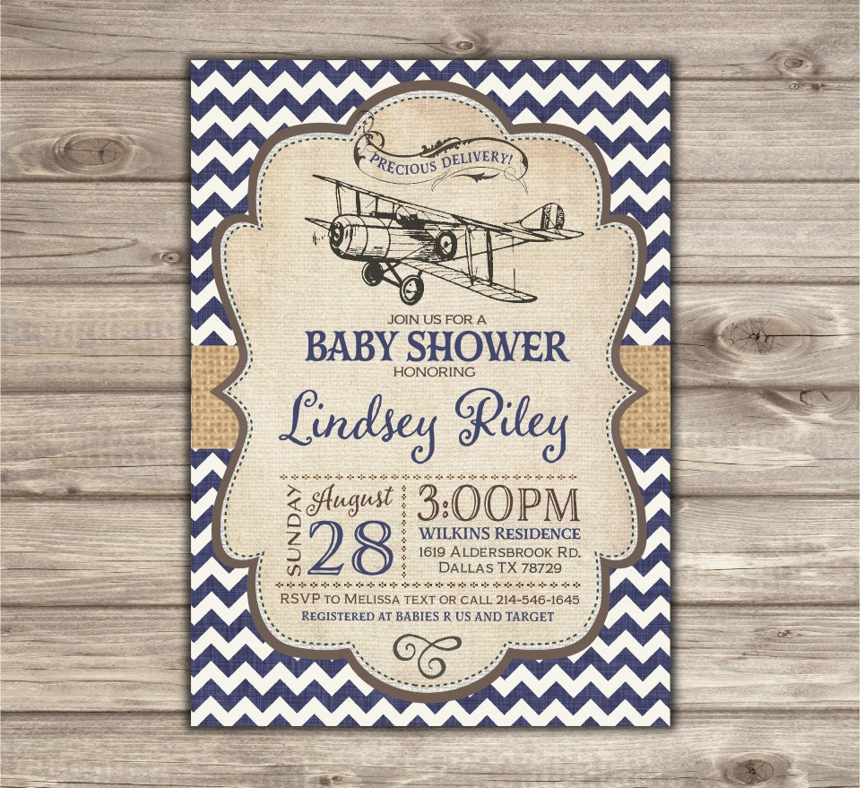 Airplane Baby Shower Invitations Vintage Airplane Navy Chevron