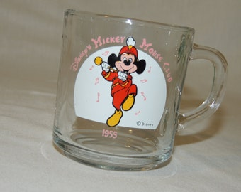 VTG 1955 Mickey Mouse Walt Disney Glass Mug