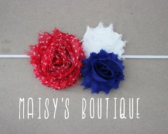 Polka Dot Patriotic Red White and Blue Headband/ Shabby Flower Headband/ Newborn Headband/ Baby Headband/ Flower Girl/ Wedding/ Photo Prop